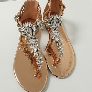 Rose Gold Rhinestone Embellished Flat Sandals